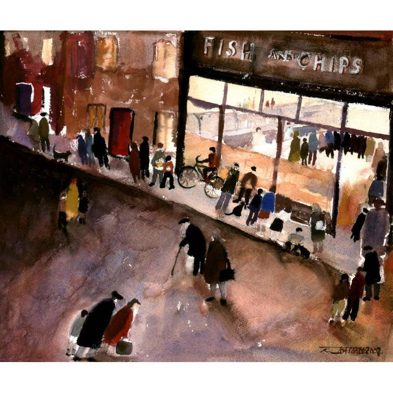 Fish and chips signed limited edition print by malcolm for Oak city fish and chips