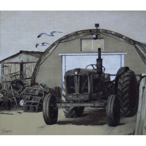 Tractor and sheds at Boulmer