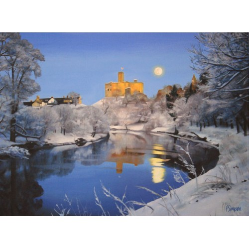 Warkworth Castle in Snow