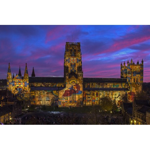 Durham Cathedral illuminated during Lumiere Festival