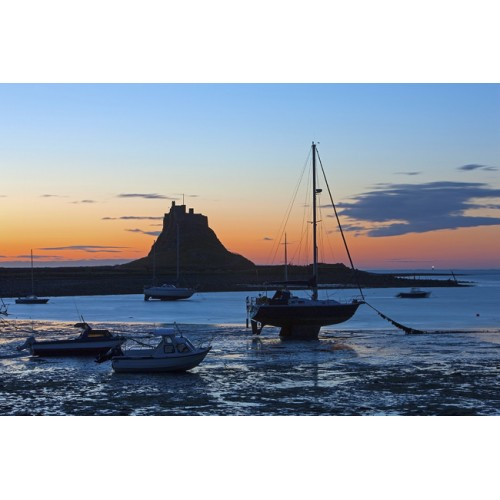 Linsdisfarne Castle, Northumberland at dawn
