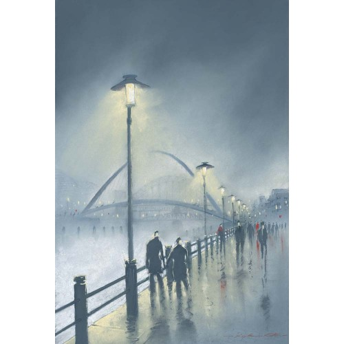 Misty Night Millennium Bridge. Small framed print