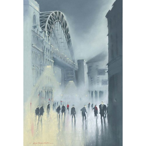 Tyne Bridge -Mist. Small framed print