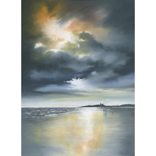 Breaking Dawn at Dunstanburgh small framed print