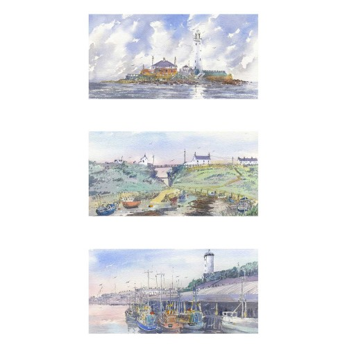 Views of North East coastline. Triptych